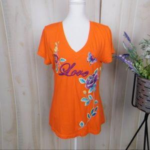 Johnny Was Orange Embroidered Short Sleeve Tee